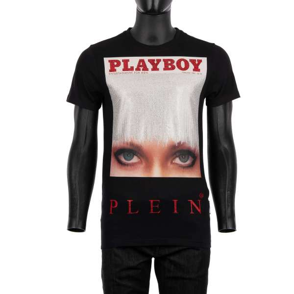 T-Shirt with a crystals graphic print of a magazine cover of Iconic Eyes / Candace Jordan at the front and crystals embellished 'Playboy Plein' lettering at the back by PHILIPP PLEIN x PLAYBOY