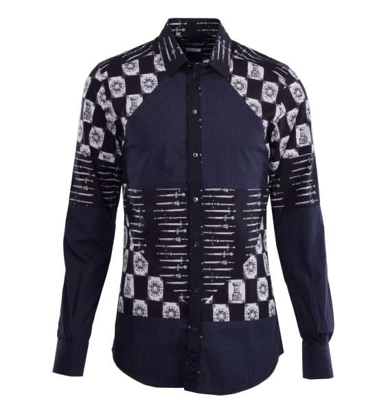Armor & Weapons printed patchwork cotton shirt with short collar by DOLCE & GABBANA Black Label - GOLD Line