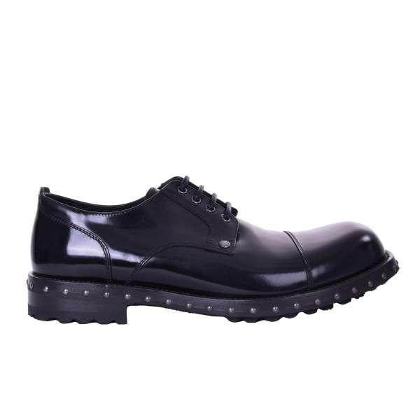 Stabile Derby Schuhe SAN PIETRO aus Glattleder in Schwarz mit massiver Sohle von DOLCE & GABBANA Black Label