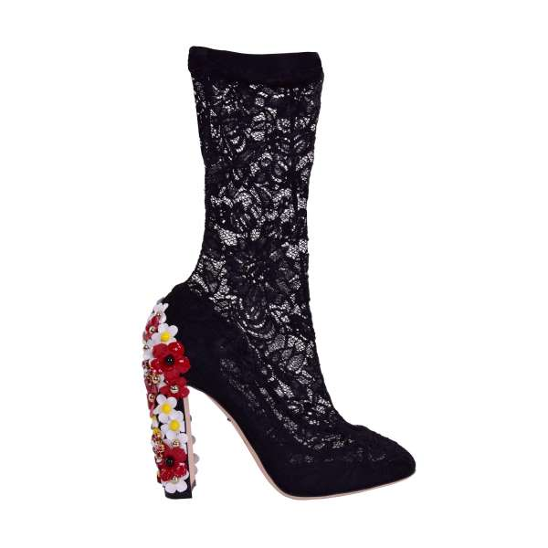 Nylon lace Socks-Pumps with block heel embellished with crystals and leather floral applications by DOLCE & GABBANA Black Label