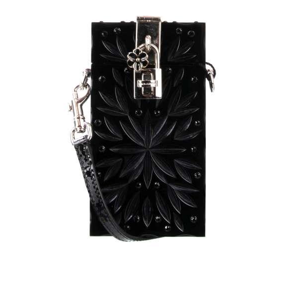 Plexiglas Clutch / Abendtasche CINDERELLA mit eingravierten Blumen Applikationen und Swarovski-Kristallen von DOLCE & GABBANA
