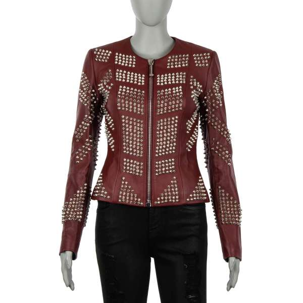 Leather Jacket SENS embellished with studs and leopard head on the back in red by PHILIPP PLEIN COUTURE