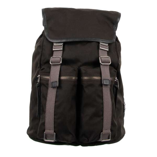 Canvas backpack with buckles closure, outer pockets and metal logo plate by DOLCE & GABBANA