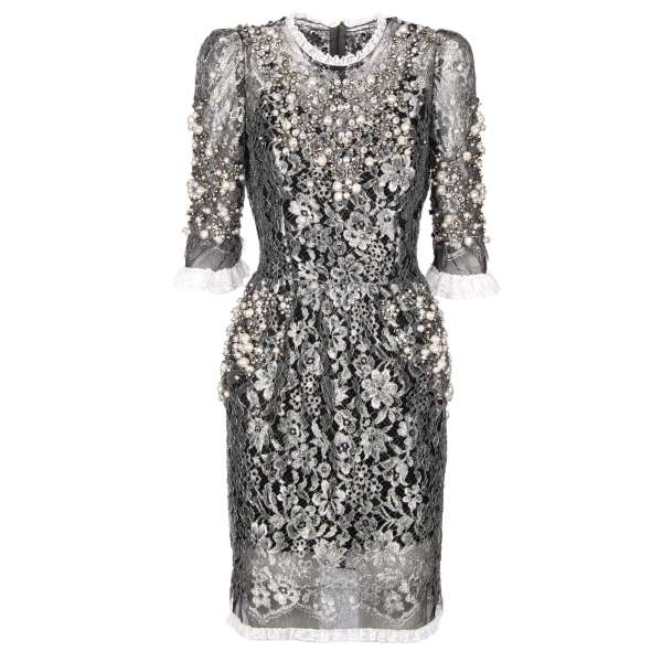 Baroque lace dress embelished with artificial pearls and real crystals in silver and black by DOLCE & GABBANA Black Label
