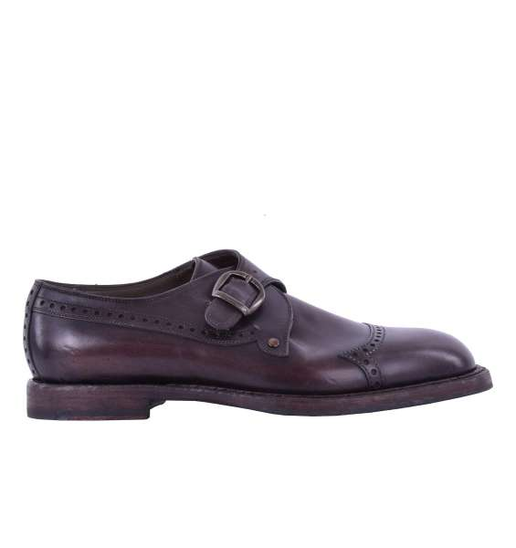 Two tone calfskin derby shoes MARSALA with side buckle by DOLCE & GABBANA Black Label
