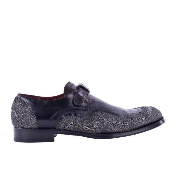 Derby Schuhe mit Schnalle SASSARI aus besticktem Leder mit Schnalle von DOLCE & GABBANA Black Label