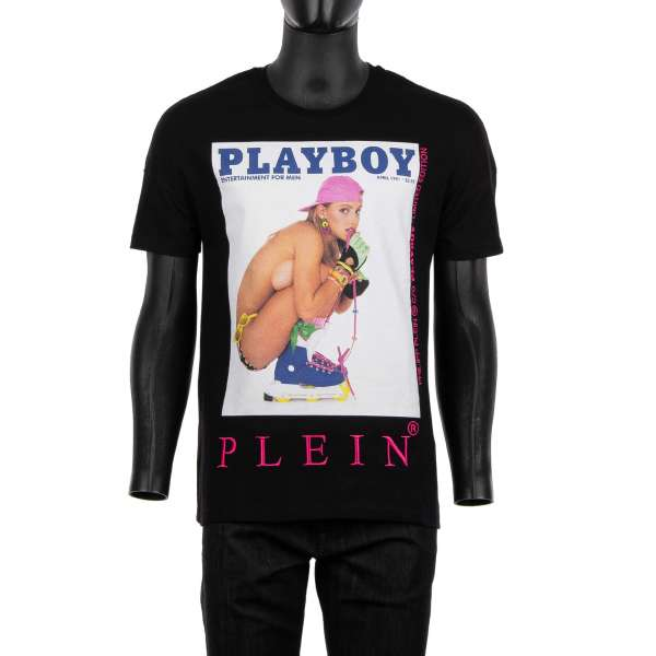 T-Shirt with a magazine cover print of Julie Clark / Skategirl with embroidered PLEIN PLAYBOY at the front and rubber printed 'Playboy Plein' lettering printed at the back by PHILIPP PLEIN x PLAYBOY