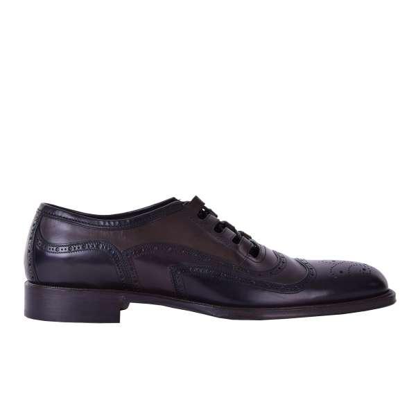 Zweifarbige Business Derby Schuhe SIENA ohne Lasche aus glattem Kalbsleder von DOLCE & GABBANA Black Label