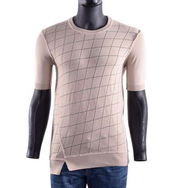 Fine knitted t-shirt with geometric texture by DOLCE & GABBANA Black Label