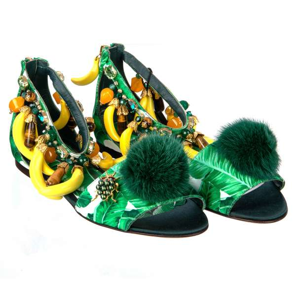 Silk banana leafs printed Sandals KEIRA embellished with bananas, crystals, mink fur pom pom and a bug brooch by DOLCE & GABBANA Black Label