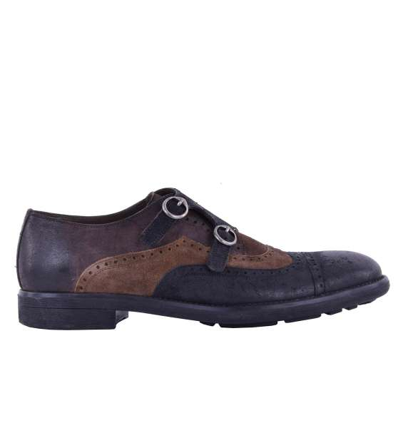 Suede derby shoes MILANO with double buckle by DOLCE & GABBANA Black Label