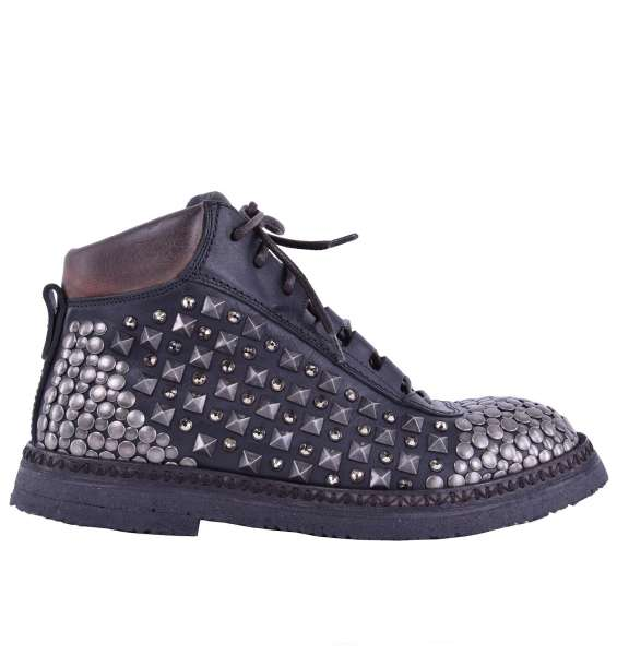 """Leather Ankle Boots """"Cortina"""" with Studs & Strass by DOLCE & GABBANA Black Label"""