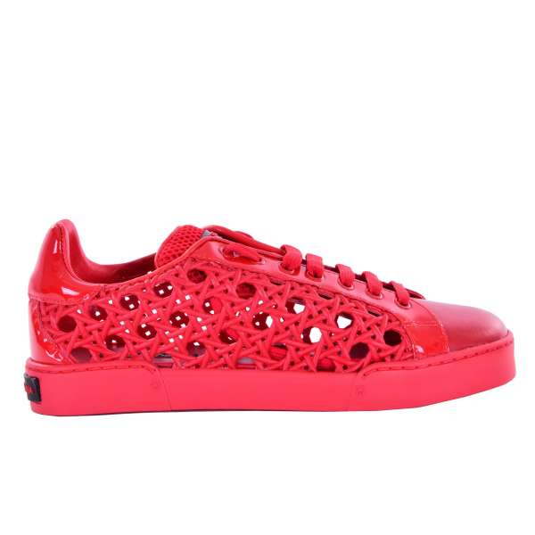 PORTOFINO Leather Sneaker with rubber net on the sides in red by DOLCE & GABBANA Black Label