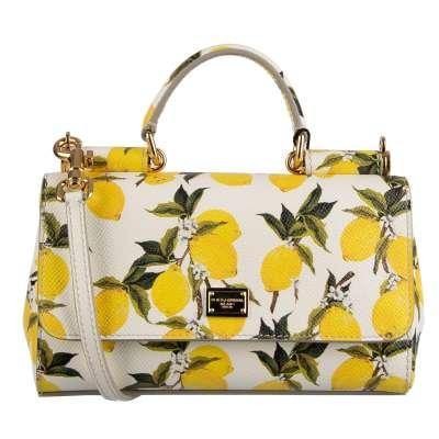 Dauphine Leder Tasche SICILY Small mit Zitronen Print Weiß Gelb