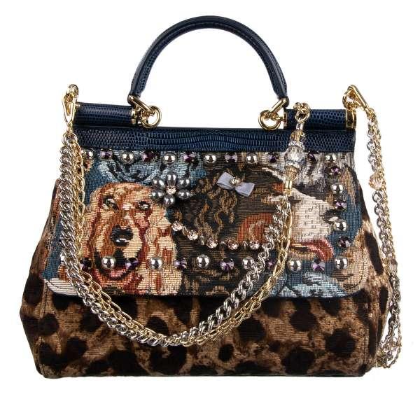Hand-/ Schultertasche MISS SICILY aus Textil und Eidechse-Leder mit Leopard Print, bestickten Hunden und Applikationen aus Kristallen und Perlen von DOLCE & GABBANA Black Label