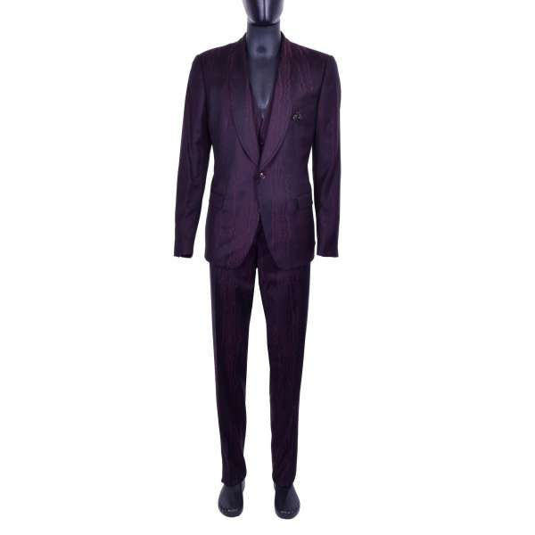 Moiree virgin wool 3-pieces suit with handmade embroidered bee brooch by DOLCE & GABBANA Black Line