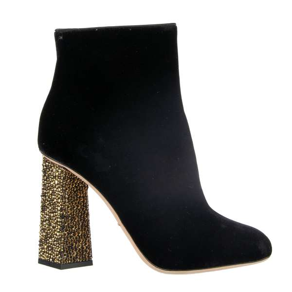 Velvet Short Boots JACKIE with zip fastening, with golden crystals embellished heel by DOLCE & GABBANA Black Label