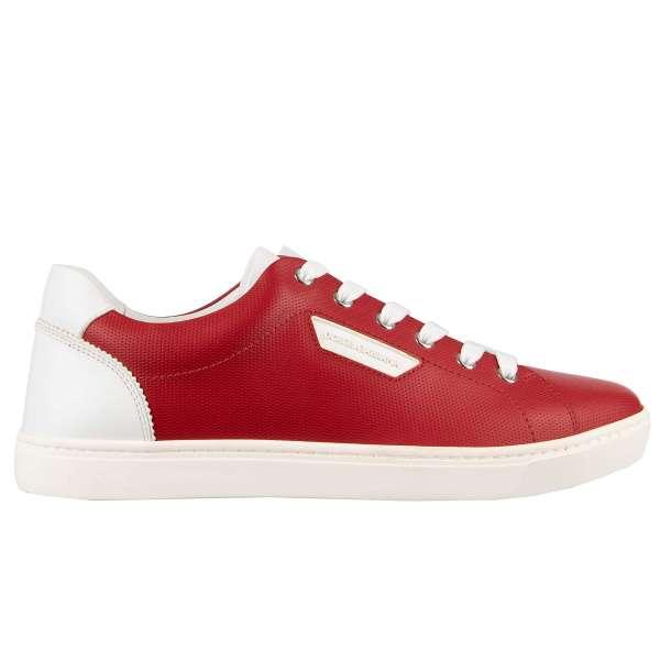 Klassische Kalbsleder Sneaker LONDON mit Logo-Schild in Rot - Weiss von DOLCE & GABBANA