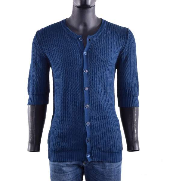 Knitted short sleeves cardigan / polo shirt with large buttons by DOLCE & GABBANA Black Label