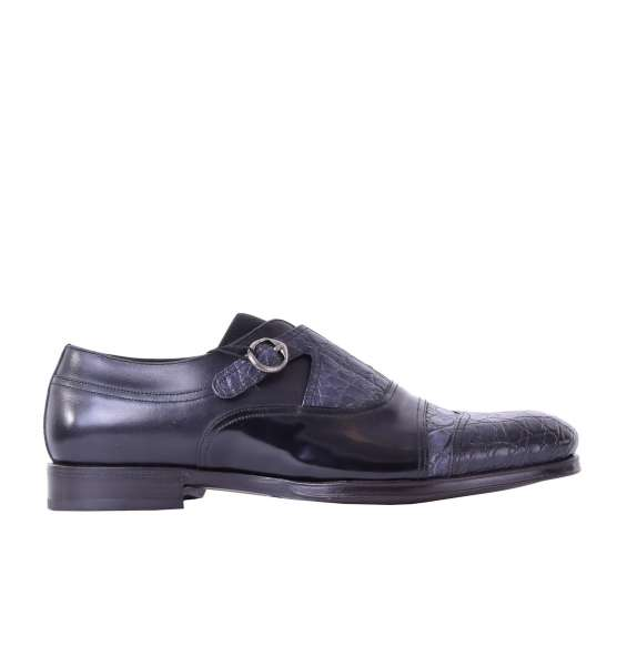 Bi-color derby leather shoes NAPOLI with buckle made of caiman and calfskin by DOLCE & GABBANA Black Label
