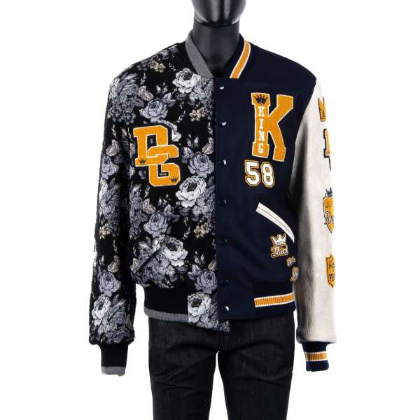 Collared and stuffed varsity / military jacket out of two different designs made of floral brocade wool and leather with DG King / Royal / Logo applications and leather arm by DOLCE & GABBANA Black Line