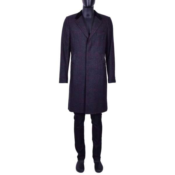 Checked Wool Coat with a velvet reverse and hidden button tape by DOLCE & GABBANA Black Line