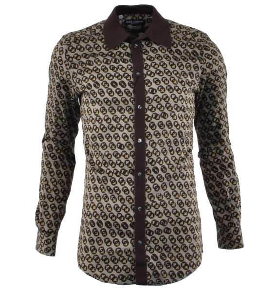"Shirt Model ""GOLD"" with knit collar & Print by DOLCE & GABBANA Black Label"