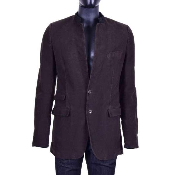 Sicily Style cotton blazer / jacket in brown by DOLCE & GABBANA Black Label