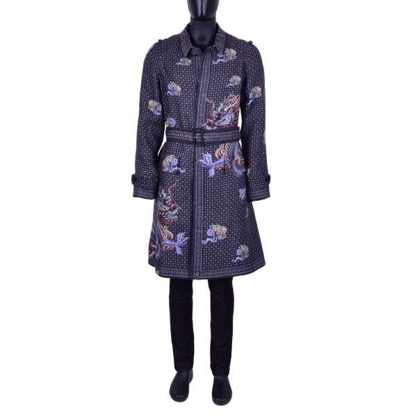 Mantel aus Hanf und Leinen mit chinesischem Drachen-Print und Gürtel von DOLCE & GABBANA Black Label