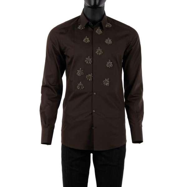 Tuxedo Hemd aus Seide und Baumwolle mit kurzem Kragen, verdeckter Knopfleiste und von hand bestickten silbernen Bienen aus Kristallen und Glas von DOLCE & GABBANA - GOLD Line