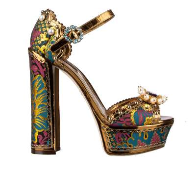 Baroque Platform Sandals KEIRA with Pearls and Crystals Gold