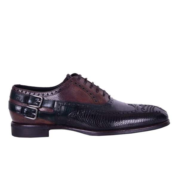 Varan and calf leather patchwork shoes ROMA with lace up and double buckle fastening by DOLCE & GABBANA Black Label