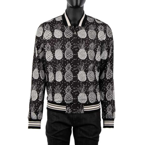 Knit collared bomber style jacket with pineapple and polka dot print in black / white by DOLCE & GABBANA Black Line