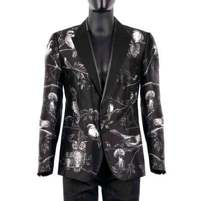 SICILIA Birds Print Blazer Silk Black