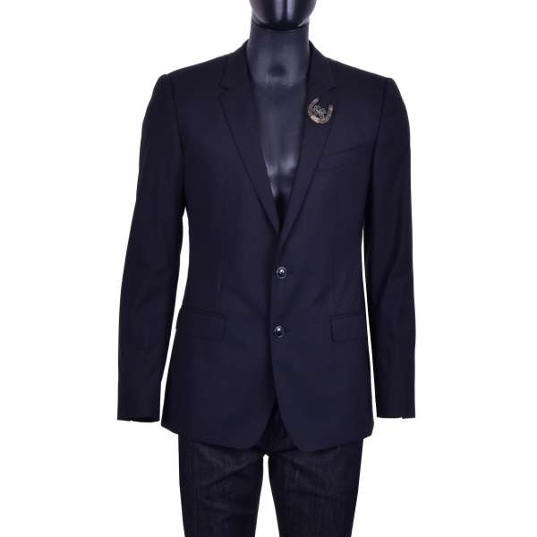 Virgin wool blazer with horseshoe embroidery and by DOLCE & GABBANA Black Label