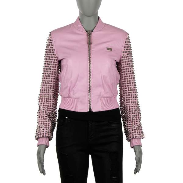 """Leather Jacket Model """"RATHER DIE YOUNG"""" embellished with studs in pink by PHILIPP PLEIN COUTURE"""