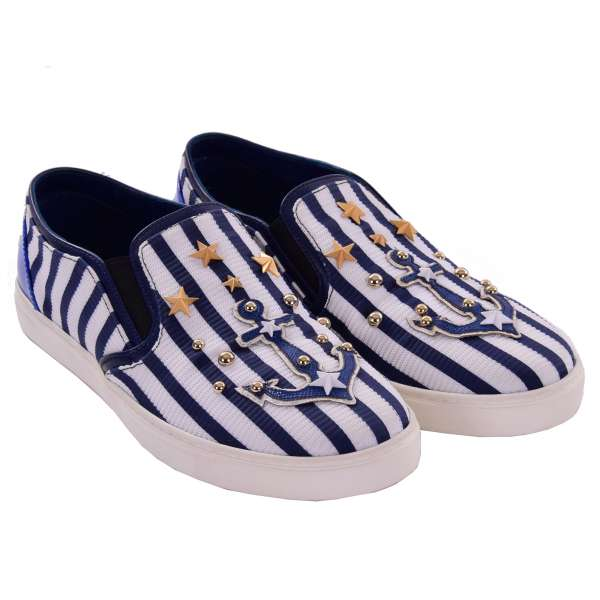 Slip-On Sneaker LONDON with studs, anchor, stars applications and DG logo in blue and white by DOLCE & GABBANA Black Label