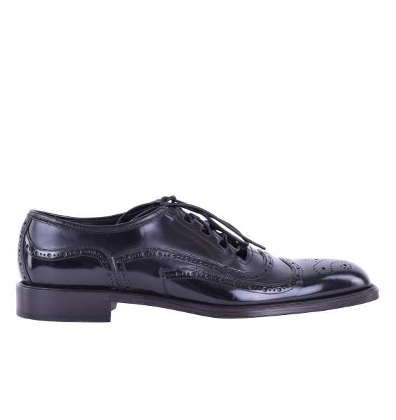 Open formal patent leather derby shoes SIENA by DOLCE & GABBANA Black Label