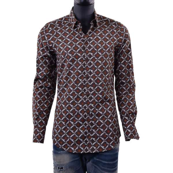 Airplane printed cotton shirt with short collar by DOLCE & GABBANA Black Label- GOLD Line
