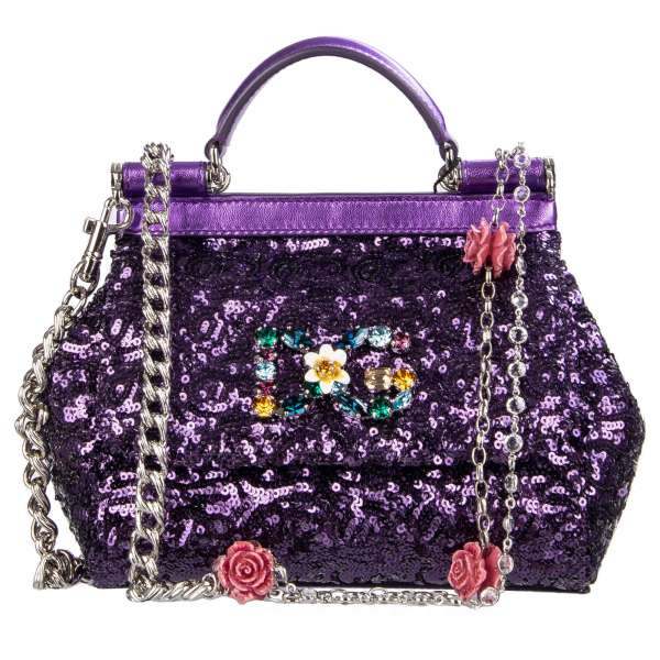 Sequins Tote / Shoulder bag SICILY with DG crystal and flower application and hand painted roses and crystals metal strap in purple by DOLCE & GABBANA