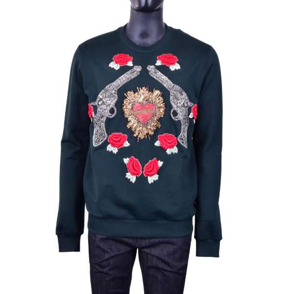 Embroidered sweater with Sacred Heart, Roses and Pistols with crystals and pearls by DOLCE & GABBANA Black Line
