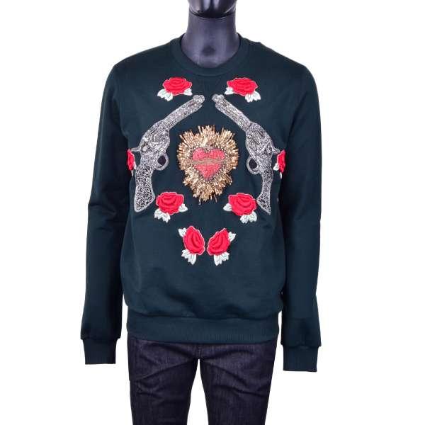 Sweater mit Sacred Heart, Rosen und Pistolen Stickerei aus Kristallen und Perlen von DOLCE & GABBANA Black Label