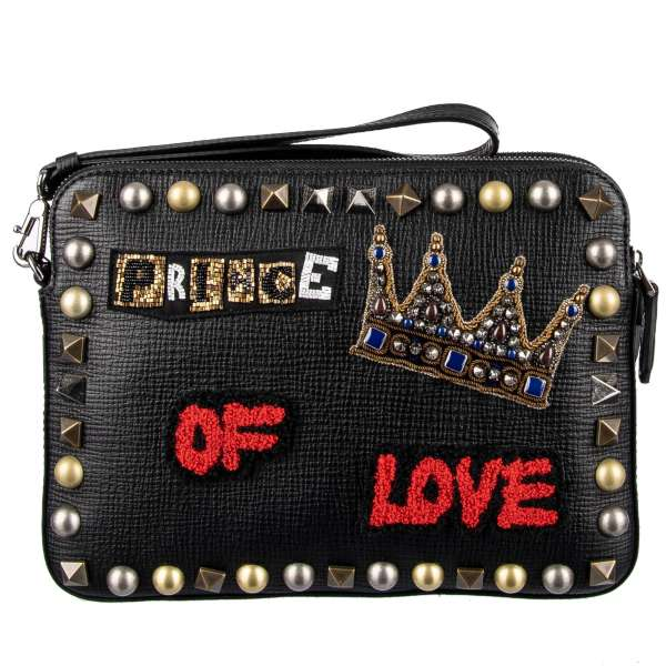"""Studded clutch bag/ pouch made of Palmellato leather with embroidered crown, lettering """"Prince Of Love"""", two dividers with zip fastening and handle by DOLCE & GABBANA"""