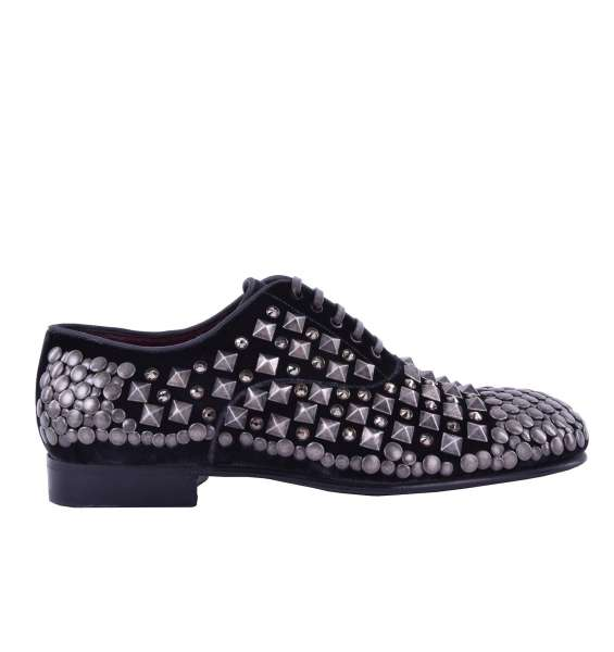Velour Shoes with studs & strass by DOLCE & GABBANA Black Label