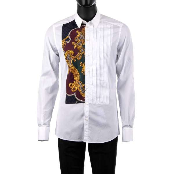 Tuxedo Shirt with short collar and cotton and silk soft placket with coat of arms print by DOLCE & GABBANA Black Label - GOLD Line