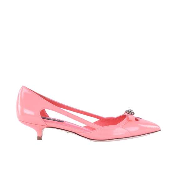 Patent Leather Slingbacks BELLUCCI with a strass brooch by DOLCE & GABBANA Black Label