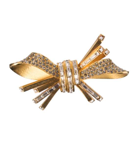 Bow Hair Clip with crystals in Gold by DOLCE & GABBANA