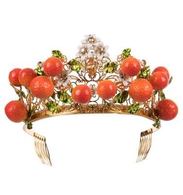 Zitrone Blumen Kristall Tiara Krone Gold