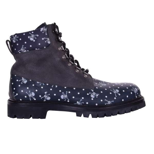 Skull and Polka Dot printed ankle boots BAGHERIA made of brushed leather and nylon by DOLCE & GABBANA Black Label