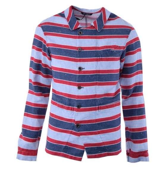 Deconstructed striped linen blazer by DOLCE & GABBANA Black Label